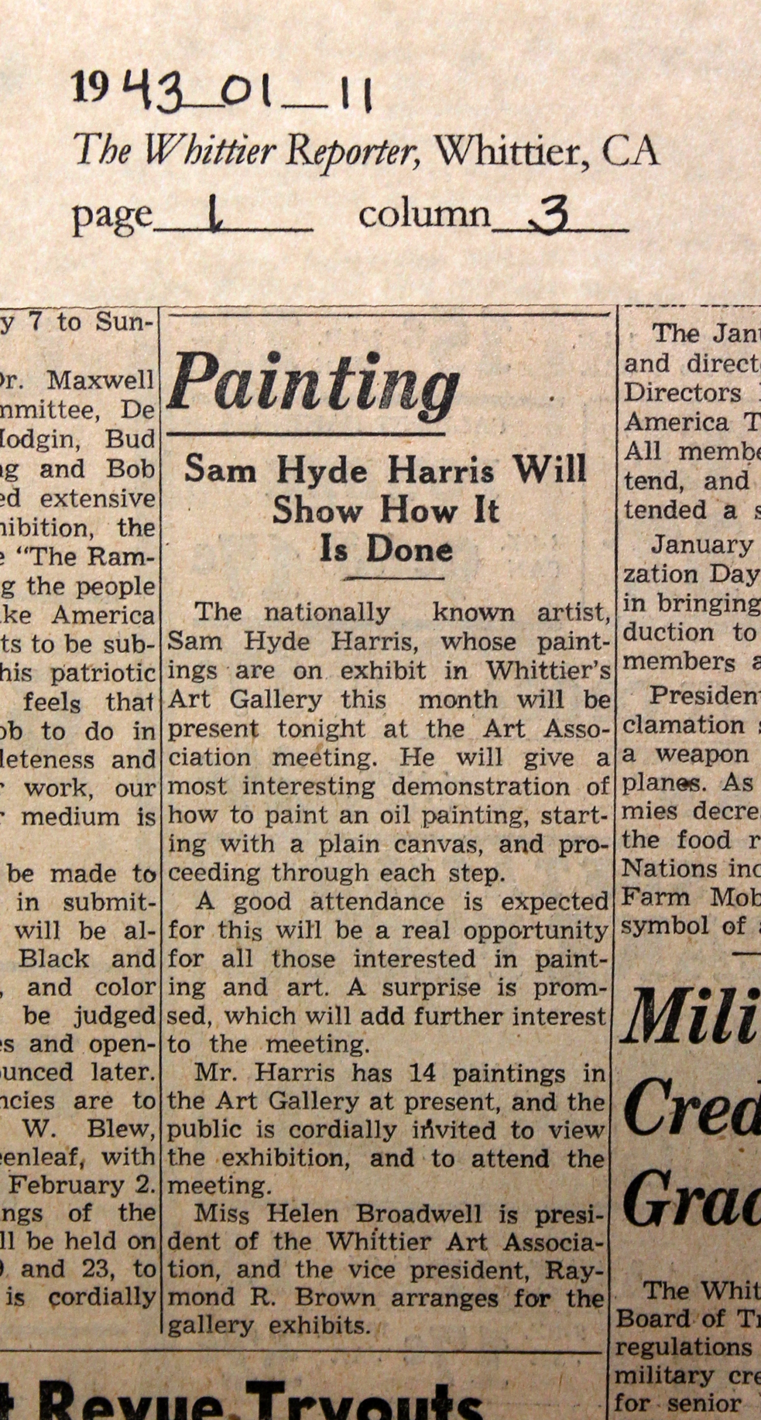 1943_01_11 WR Sam Hyde Harris exhibit & demo edit