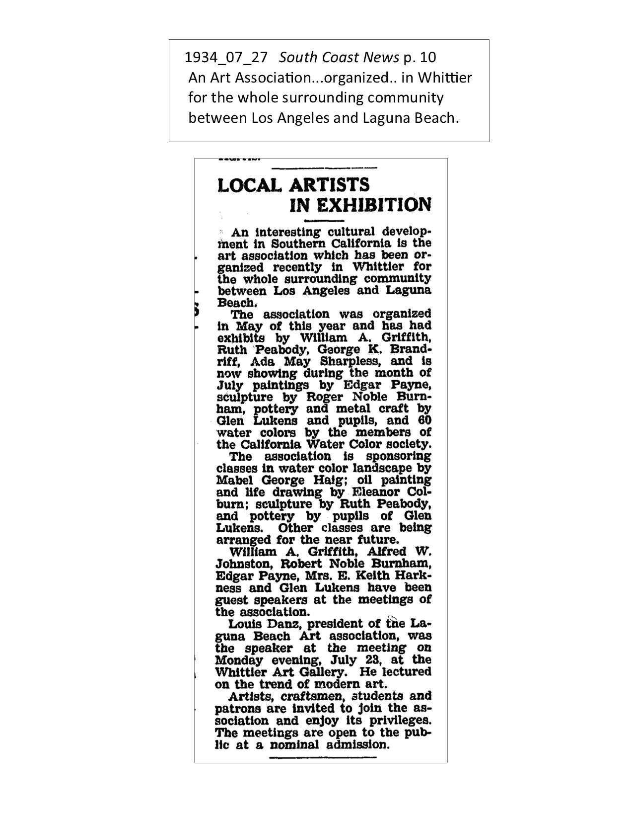 1934_07_27 South Coast News p. 10 WAA forms for LA to Laguna Beach
